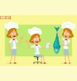 cartoon flat chef cook girl character set vector image vector image