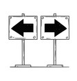 cartoon of two left and right arrows vector image