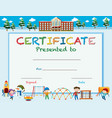 certification template with kids at playground vector image vector image