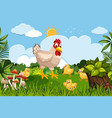 chickens in nature scene vector image vector image