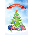 christmas tree holiday greeting card decoration vector image