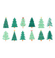 christmas trees merry xmas decorated tree vector image vector image