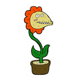 comic cartoon monster plant vector image vector image