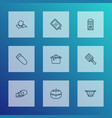 cooking icons line style set with butter tomato vector image vector image