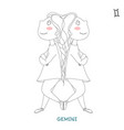cute girl in the form of zodiac sign gemini vector image