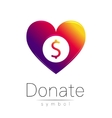 Donation sign icon Donate money heart Charity or vector image