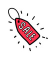 doodle red sale tag label vector image vector image