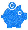euro piggy bank icon grunge watermark vector image vector image