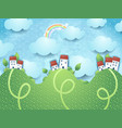 fantasy landscape with hills and homes vector image