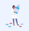 female doctor in lab coat holding giant bottle of vector image