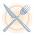 flat icon - crossed fork and knife above plate vector image vector image