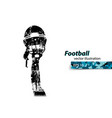 football helmet and hand silhouette rugby vector image vector image