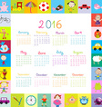Frame with cartoon toys 2016 calendar vector image