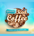 fresh iced coffee logo on bokeh background vector image