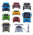 front view various models car truck bus vector image vector image