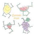 funny dancing fruit doodle lemon watermelon vector image