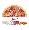 italian original pepperoni pizza with tomatoes and vector image