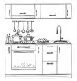 Kitchen cupboard shelves hand drawn vector image vector image