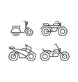 line art motorcycle icon sets vector image