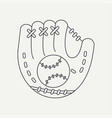 line icon leather baseball glove and ball vector image