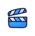 movie video clapperboard simple outline color vector image