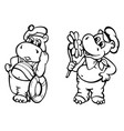 mr and mrs hippo on date vector image