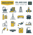 Oil and gas industry icon set Colour design vector image vector image