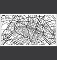 paris france city map in black and white color vector image
