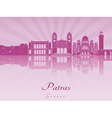 Patras skyline in purple radiant orchid vector image vector image