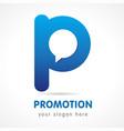promotion p logo vector image