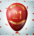 red balloon with golden inscription 21 years vector image vector image