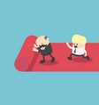 red carpet concept man walks on lane and waiter vector image vector image