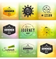 Retro summer label set in doodle sketch style vector image