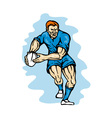 rugby ball passing vector image vector image