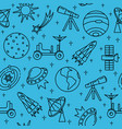 Seamless pattern with space icons in thin line