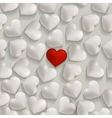 Seamless romantic white and red hearts valentines vector image