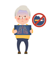 Senior Man Having Lung Problem and No Smoking Sign vector image vector image