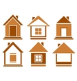 set brown isolated house vector image vector image