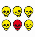 set different smiles skulls icons vector image