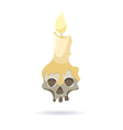 Skull with a candle isolated on a white background vector image vector image