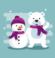 snowman and snow bear with scarf to christmas vector image vector image