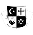 stencil of shield and religious symbols vector image vector image