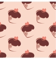 Tile pattern with cupcakes on pink background vector image vector image