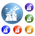 war fire city icons set vector image