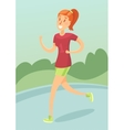 Young girl running outdoors flat style vector image vector image