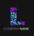 letter l logo with pink purple green particles vector image