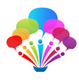Business network speech bubbles logo vector image
