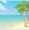 sandy beach with palms tropical ocean landscape vector image
