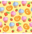 Sweet pattern cakes on yellow background Seamless vector image
