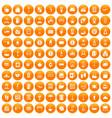100 inn icons set orange vector image vector image